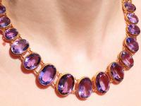 274.91ct Amethyst & 18ct Yellow Gold Rivière Necklace - Antique Victorian (12 of 12)