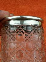 Antique Sterling Silver Hallmarked Cut Glass Faux Tortoise Shell Jar C1897 London (6 of 8)