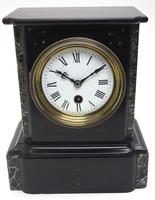 Antique French Slate & Marble Mantel Clock 8 Day Mantle Clock (2 of 9)