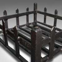 Antique Fireplace Grate, English, Cast Iron, Fire Basket, Late Victorian c.1900 (9 of 10)