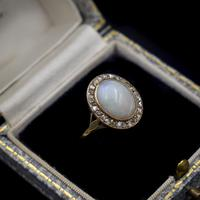 Antique Natural Opal & Rose Cut Diamond Halo 18ct 18k Yellow Gold Ring (2 of 8)