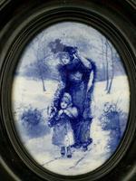 Rare Antique Royal Doulton Blue & White Mother & Girl Framed Oval Plaque C1910 (12 of 12)