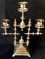 Pair of Heavy Brass Aesthetic Movement Three Branch Candelabra. (5 of 8)