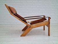 Scandinavian armchair, adjustable back, cowhide, 70s (4 of 20)