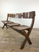 Antique Victorian Elm Four Seater Bench (M-717) (9 of 12)