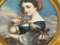 """19th Century Oval Pastel Painting French Neapolitan"""" Nubile Young Woman Feeding Goat Flowers"""" Attributed Fantin Latour Theodore (15 of 51)"""