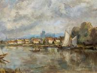 A Beautiful Original Signed Continental Impressionist Riverscape Oil Painting (6 of 12)