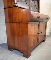 19th Century Figured Mahogany Cylinder Bureau Bookcase (12 of 12)