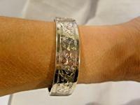 """Victorian Sterling Silver Bangle 1890s Antique Ivy Leaf Bracelet 6 1/2"""" Length (9 of 9)"""