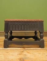 Small Vintage Wooden Black Painted Foot Stool with Brown Leather Top (7 of 17)
