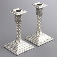 Good Pair of Silver Candlesticks by Walker & Hall London 1895 (8 of 11)