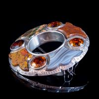 Antique Victorian Scottish Agate Citrine Brooch c.1860 (4 of 4)