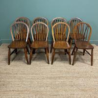 Eight Country House Elm Antique Kitchen Chairs