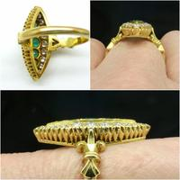 Vintage 18ct Gold Emerald & Diamond Marquise / Navette Cluster Ring c.1920s ~ With Independent Appraisal Valuation (7 of 9)