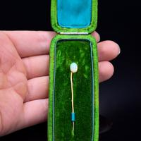Boxed Antique Natural Opal Yellow Gold Plated Stick Pin Brooch (3 of 10)
