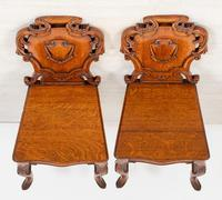 Wonderful Pair of Victorian Oak Hall Chairs (7 of 7)