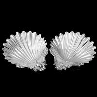 Antique Victorian Solid Silver Pair of Butter Dishes, Shell Design - Josiah Williams & Co 1894 (7 of 13)