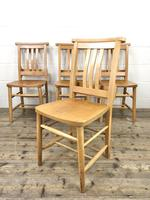 Set of Four Vintage Beech Chapel Chairs (4 of 16)