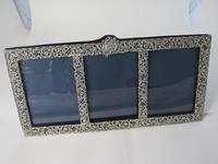 Rare & Unusual Victorian Triple Window Rectangular Silver Frame