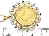 0.16ct Sapphire and 0.40ct Diamond, 18ct Yellow Gold and 22ct Gold Coin Pendant / Brooch - Antique French c.1890 (5 of 9)