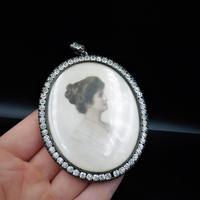 Antique Paste Portrait Miniature Silver Oval Locket Pendant in Box (6 of 9)