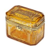 Bohemian Antique Engraved Metal Mounted Overlay Yellow Glass Sugar Casket 19th Century