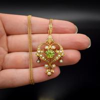 Antique Peridot and Pearl Lavalier 15ct 15K Gold Drop Pendant Necklace and Brooch (2 of 11)