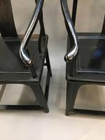 Pair Chinese ebonised horseshoe chairs (9 of 11)