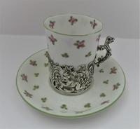 Staffordshire Bone China Coffee Cup & Saucer, Silver Mount, William Comyns, London 1911 (2 of 8)