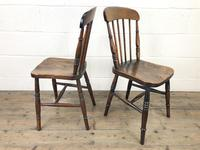 Pair of Antique Elm Farmhouse Kitchen Chairs (7 of 8)