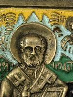 Early 20th Century Cold Painted Bronze Religious Russian Orthodox Church Icon (11 of 15)