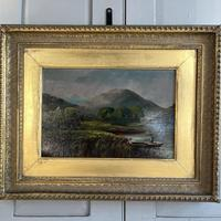 Antique Scottish Landscape Oil Painting of Punters on Loch by T Haywood c.1870 (3 of 10)