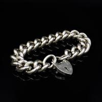 Vintage Heavy Chunky Heart Padlock Sterling Silver Curb Bracelet (3 of 10)