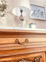 French Antique Sideboard / Walnut Buffet / Marble Cupboard (8 of 10)