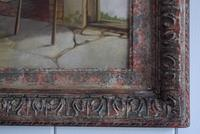 19th Century Oil on Canvas Interior Scene with Fireplace (6 of 11)