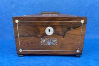 William IV Rosewood Twin Section Tea Caddy with Inlay (2 of 11)