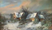 Very Large Outstanding 19th Century British Winter Snow-capped Landscape Oil Painting (2 of 13)