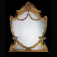 Large 19th Century Victorian Giltwood & Gesso Overmantel Mirror of Cartouche Shaped Form