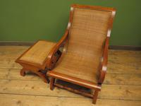 Vintage British Colonial Style Teak & Cane Plantation Chair & Footstool (2 of 17)