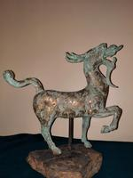 Chinese Archaistic Silver / Gold Coloured Inlaid Bronze Mythical Qilin (6 of 15)