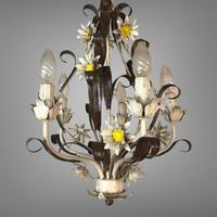 Vintage Rustic Original French Toleware Daisies Ceiling Light Chandelier (5 of 9)