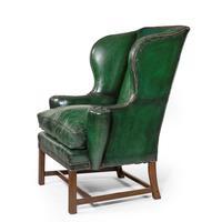 George III Green Leather Wing Armchair (3 of 5)