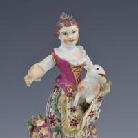 Bow Porcelain Figure Girl Shepherdess With Lamb In Apron c.1762-1764 (11 of 13)