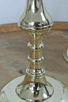 Pair of Unusual 19th Century Victorian Brass Candlesticks Round Base & Pushers (4 of 6)
