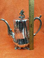 Antique Victorian Silver Plate Teapot C1870 Hand Engraved Folate Patterning with Bird, Maybe Eagle Finial (5 of 11)