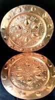 Pair of Large  Arts and Crafts  Repousse  Copper Chargers (4 of 5)