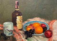 Exceptional Original Vintage Still Life of Fruit & Wine French Oil Painting (4 of 12)