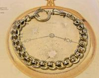 Antique Pocket Watch Chain 1920s Large Chrome Fancy Link Albert with Big Bolt Ring (2 of 12)