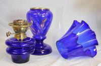 Antique Bristol Blue Oil Lamp (6 of 6)