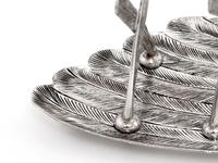 Victorian Silver Plated Toast Rack Shaped as a Bird Wing Engraved with Feathers (10 of 10)